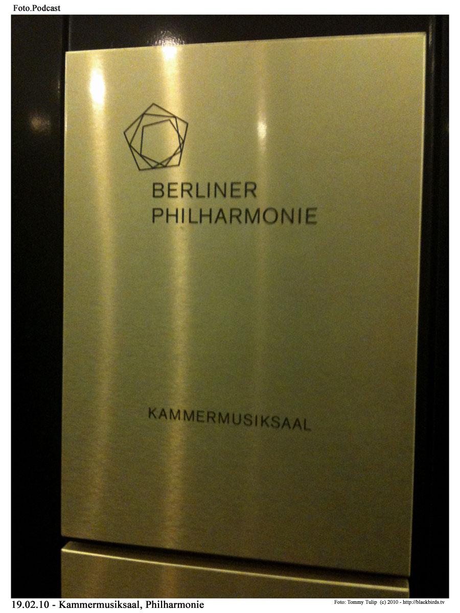 Schild vom Kammermusiksaal - Philharmonie