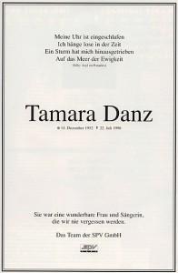 Tamara Danz - Todesanzeige