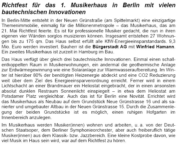 Medienschnipsel 1. Berliner Musikerhaus