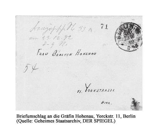 Briefumschlag an Gräfin Hohenau (Geheimes Staatsarchiv)