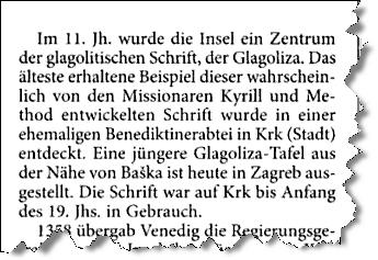 Glagolitische Schrift (Ausriss KRK-Kompendium)