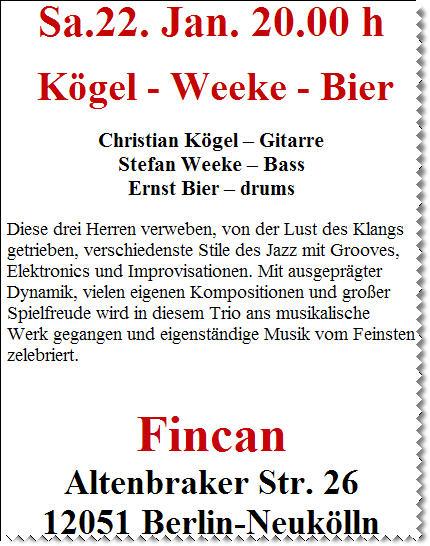 Ernst Bier im Fincan (Veranstaltungstipp)