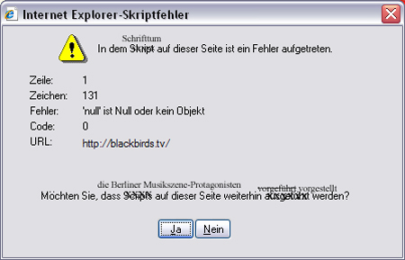 Internet Explorer Skriptfehler
