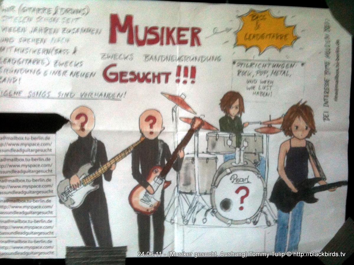 Musiker gesucht! Aushang Berlin-Wedding, Schwedenstr.