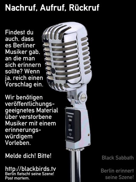 Banner Black Sabbath - Nachruf, Aufruf, Rückruf - Berlin erinnert seine Szene!