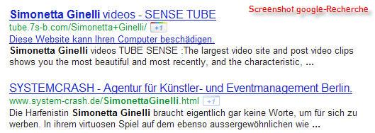 "Google-Recherche ""Simonetta Ginelli"" (screenshot)"