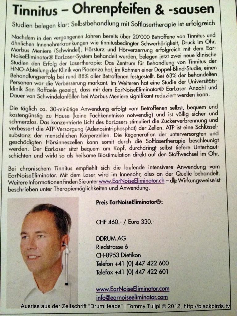 """Zugehört: Ausriss aus der Zeitschrift """"DrumHeads"""""""