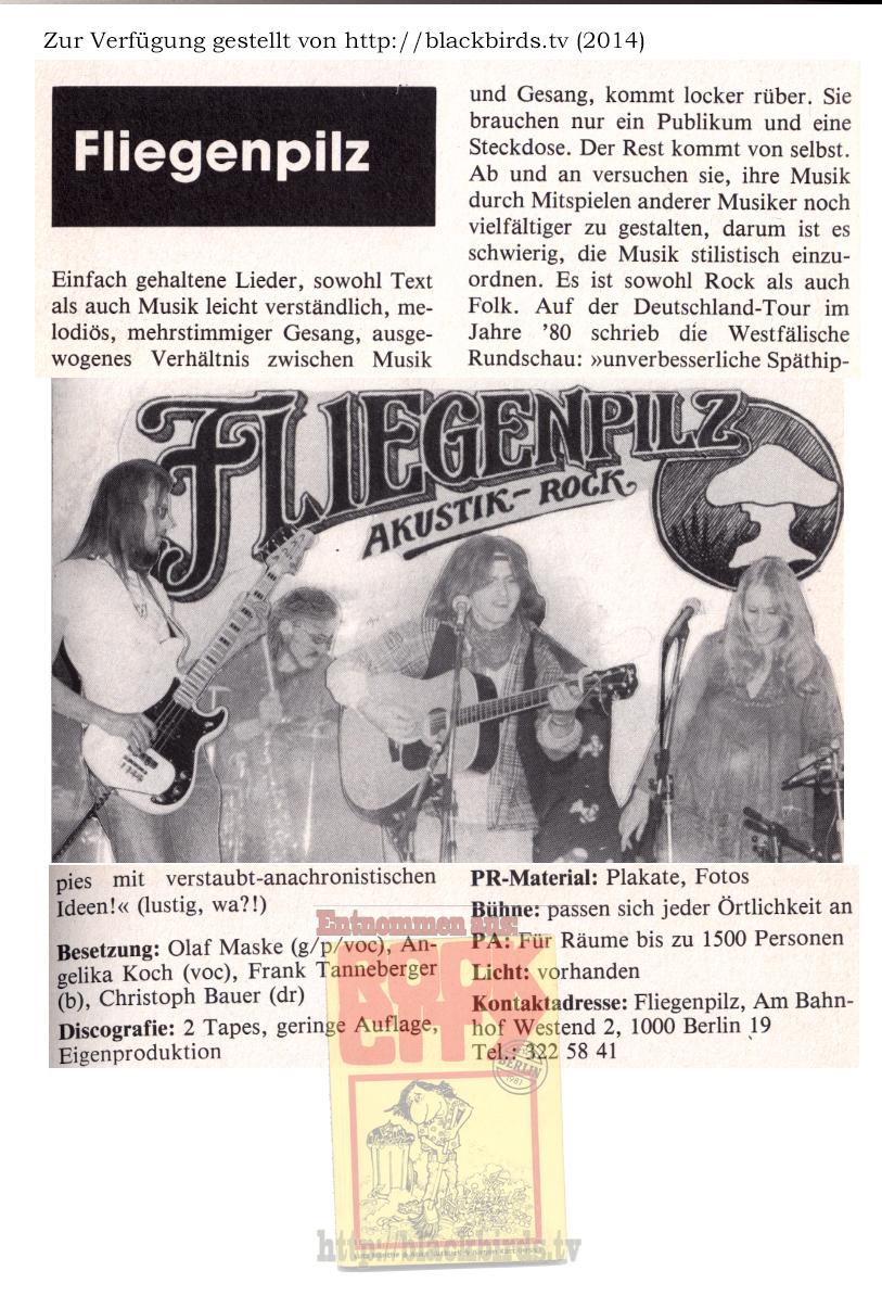 """ROCK CITY Berlin: Band """"Fliegenpilz"""" Ausgabe 1981"""