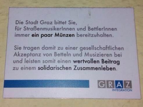 Betteln und Musizieren in Graz