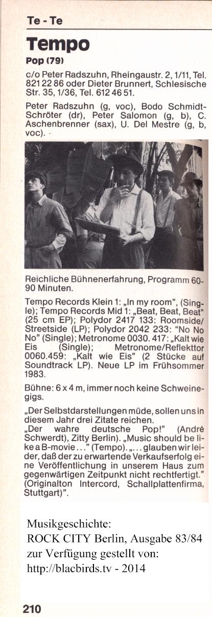 "ROCK CITY Berlin: Band ""Tempo"" Ausgabe 1983/84"