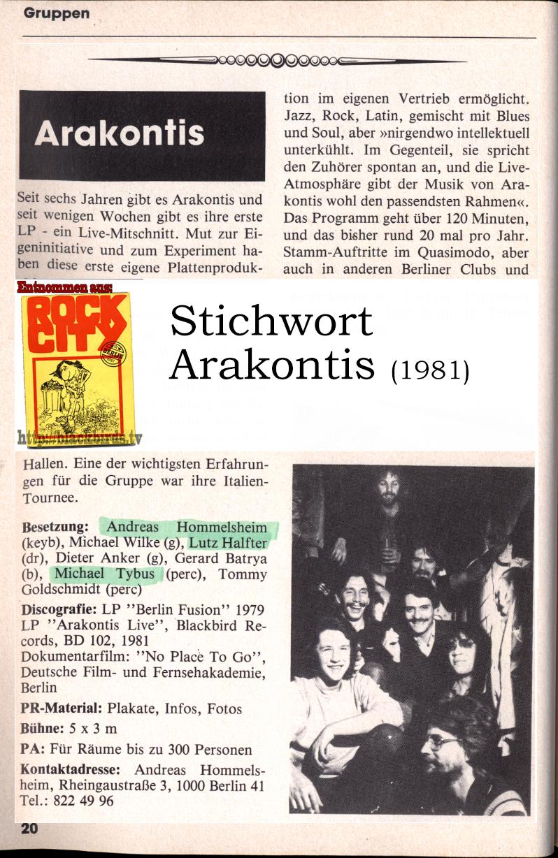 "ROCK CITY Berlin: Band ""Arakontis"" Ausgabe 1981"