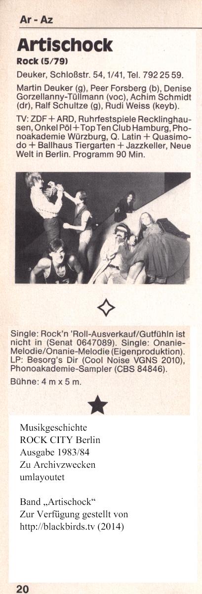 """ROCK CITY Berlin: Band """"Artischock"""" Ausgabe 1983/84"""
