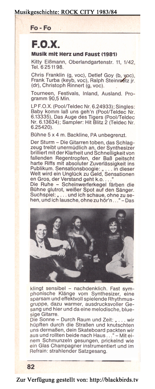 "ROCK CITY Berlin: Band ""F.O.X."" Ausgabe 1983/84"