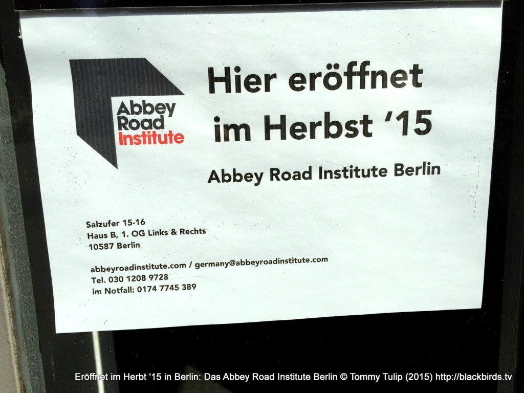 Eröffnet im Herbt '15 in Berlin: Das Abbey Road Institute Berlin