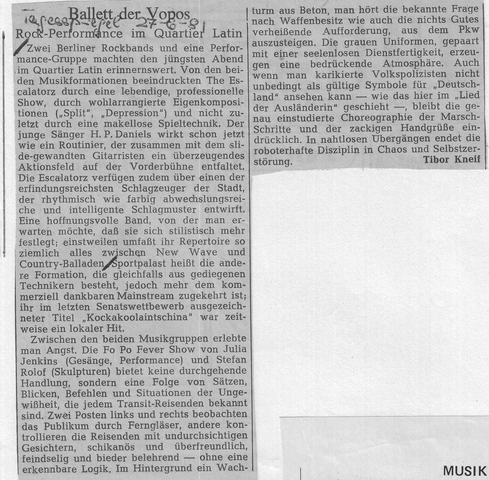 Tibor Kneif, Tagesspiegel über #Escalatorz