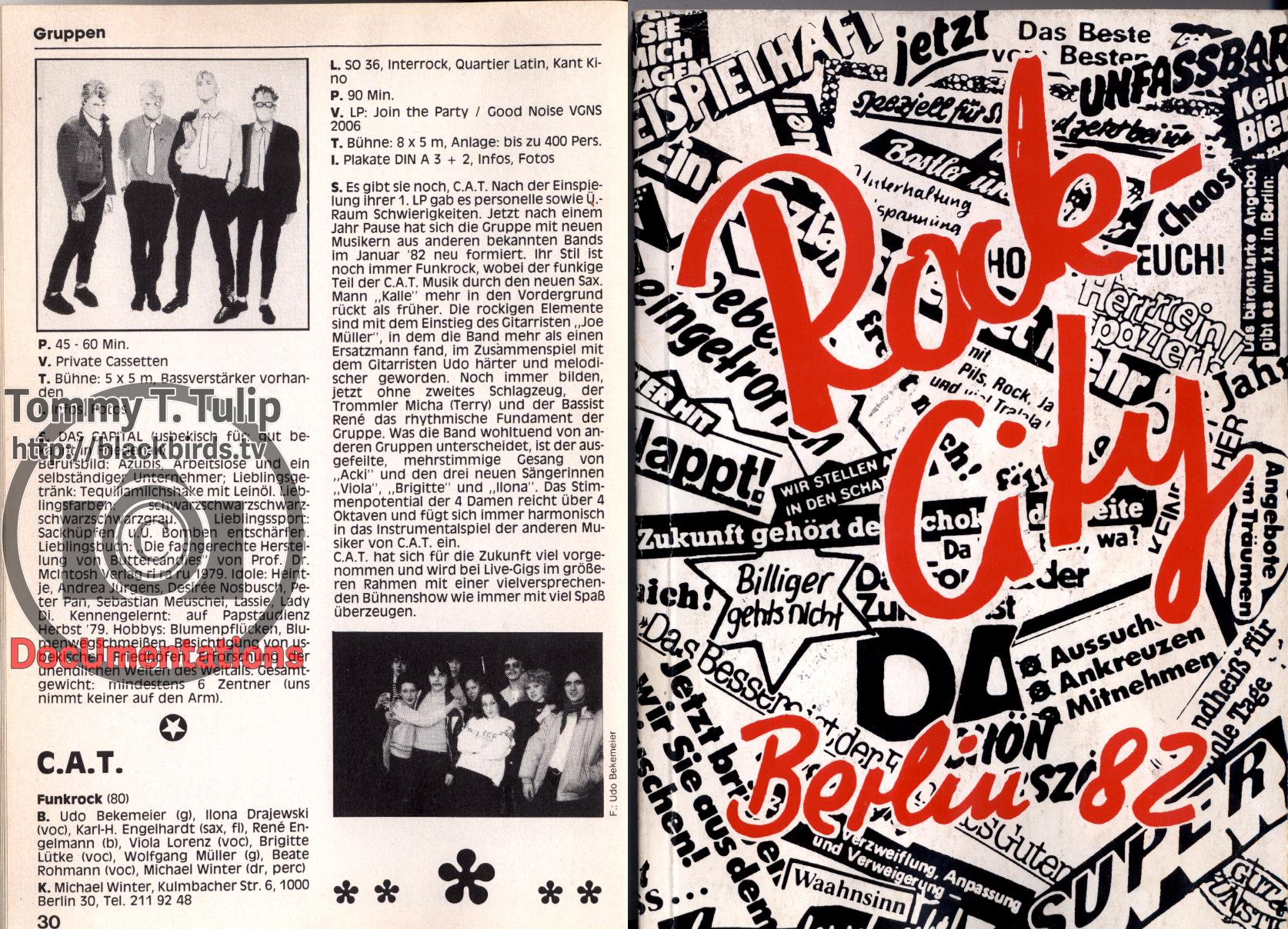 """Auszug/Exzerpt aus Rock City Berlin '82 - Das Jahrbuch der Berliner Musikszene (Bandeintrag """"C.A.T."""" Funkrock (Gründungsjahr 1980) mit Text und Foto."""