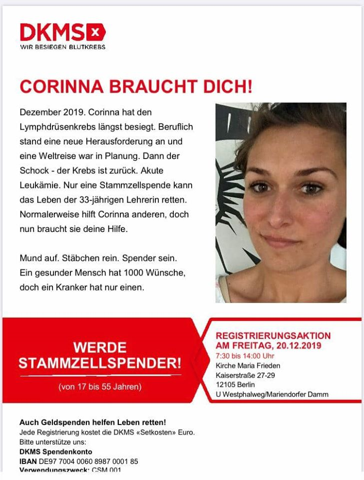 Corinna braucht DIch! (Banner)