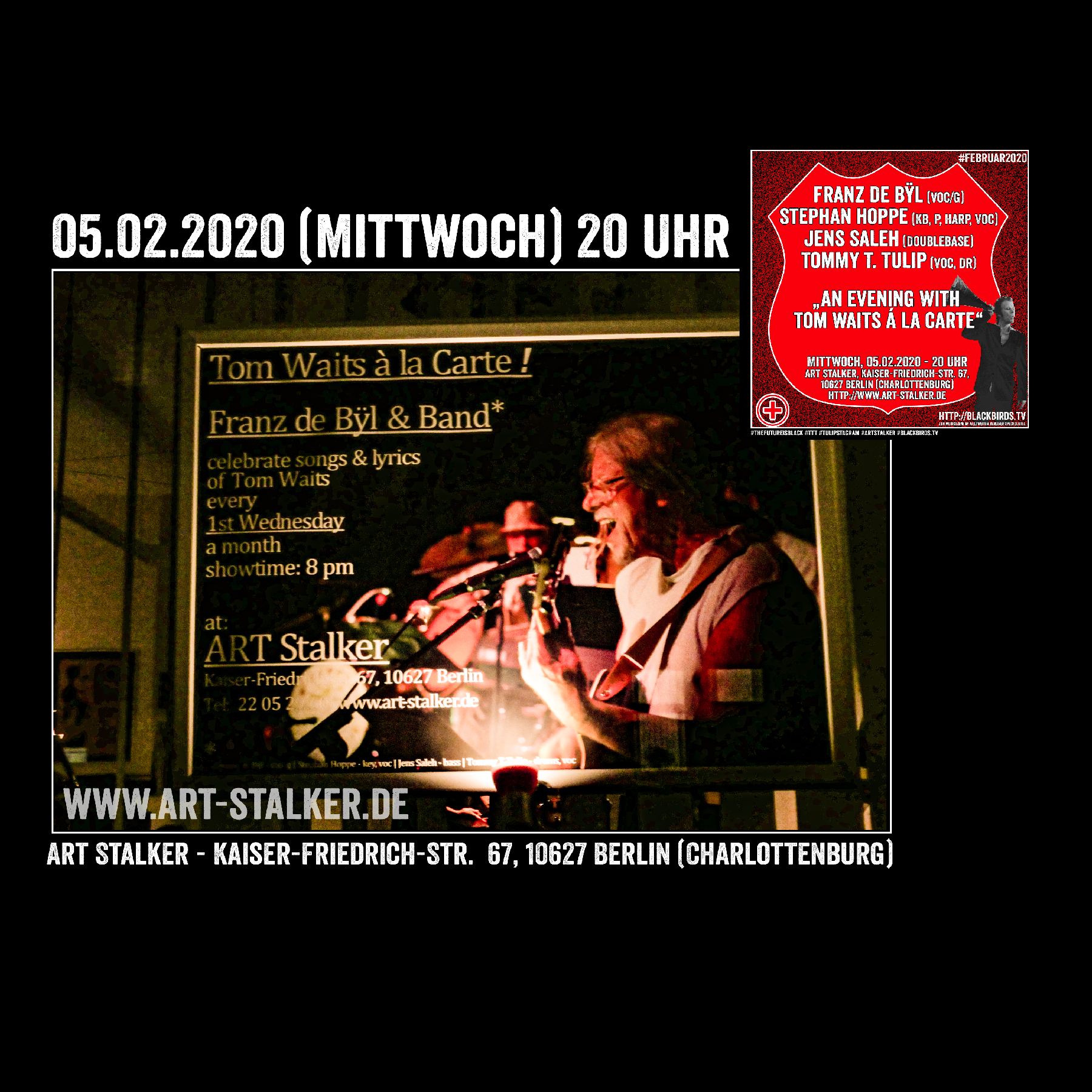 "05.02.2020 - 20 Uhr Franz de Bÿl & Vinÿl ""An Evening With Tom Waits á la Carte #ArtStalkerBerlin"