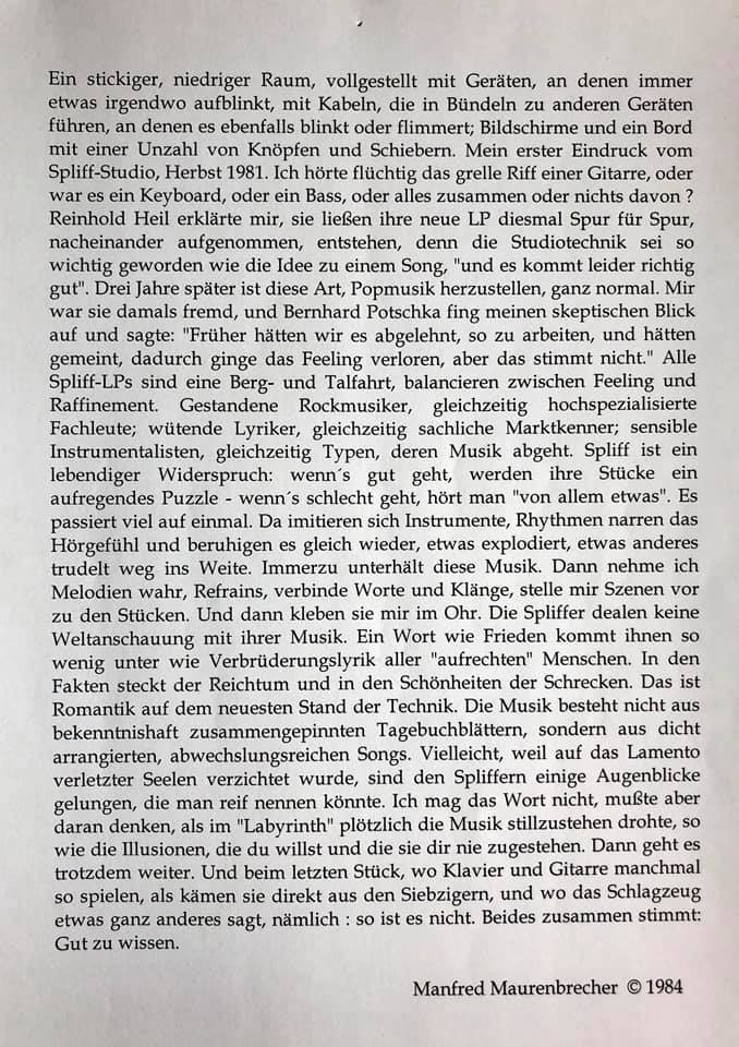 Manfred Maurenbrecher, Buchausriss über #Spliff (Fundstelle: Spliff-Gruppe auf Facebook)