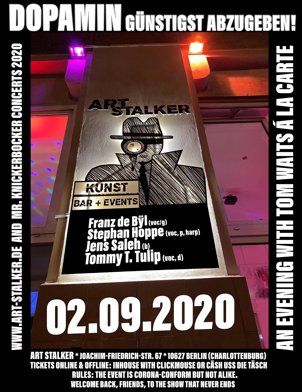 02.09.2020 - Franz de Bÿl & his Band - An Evening with Tom Waits á la carte (Veranstaltungsflyer)